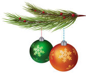 New Year decorative balls hanging on christmas tree — Stock Vector