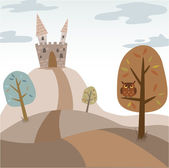 Landscape with medieval cartoon castle — Stock Vector