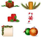 Nový rok a vánoce sada ikon — Stock vektor