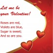 Vector de stock : Valentine's Day hearts poem postcard