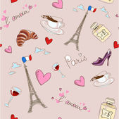 Paris seamless pattern — Vector de stock