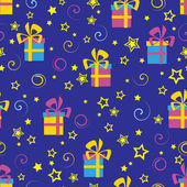Seamless pattern with gifts and stars — Stock Vector