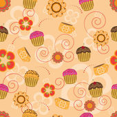 Cupcake seamless pattern — Stock Vector