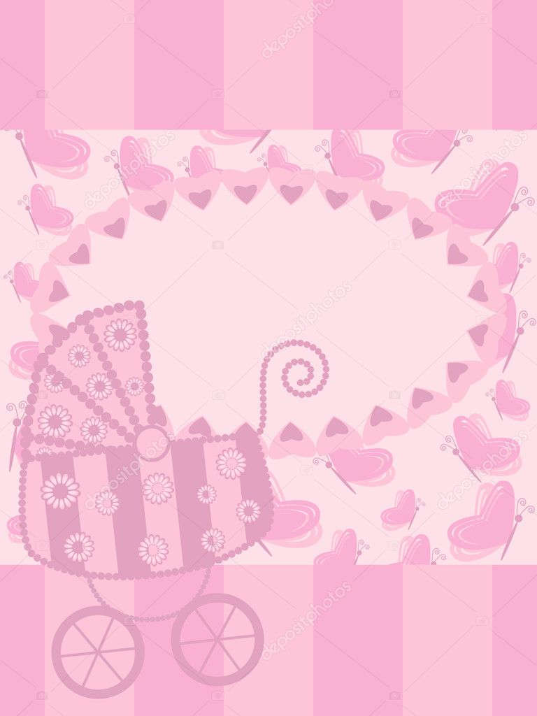 Baby girl arrival announcement card Vector mammairina – Announcement of Baby Girl