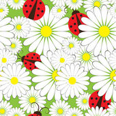Seamless pattern with ladybirds and chamomile — Stock vektor