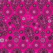 Stock Vector: Paisley stile pattern on pink background