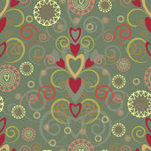 Heart and swirl seamless pattern — Cтоковый вектор