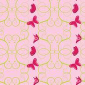无缝花朵与蝴蝶图案 — 图库矢量图片