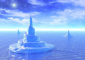 Background with icebergs — 图库照片