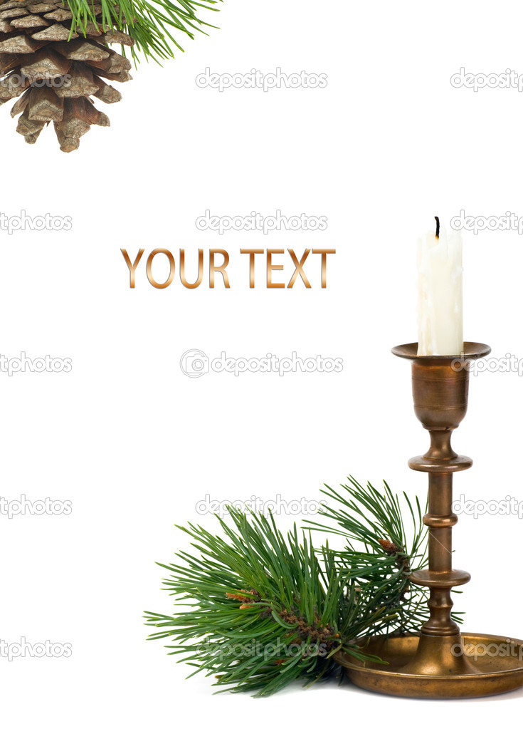 Candlestick with candle and pine branch  — Stock Photo #4547346