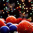 Beautiful Christmas balls on the background lights. — Stock Photo