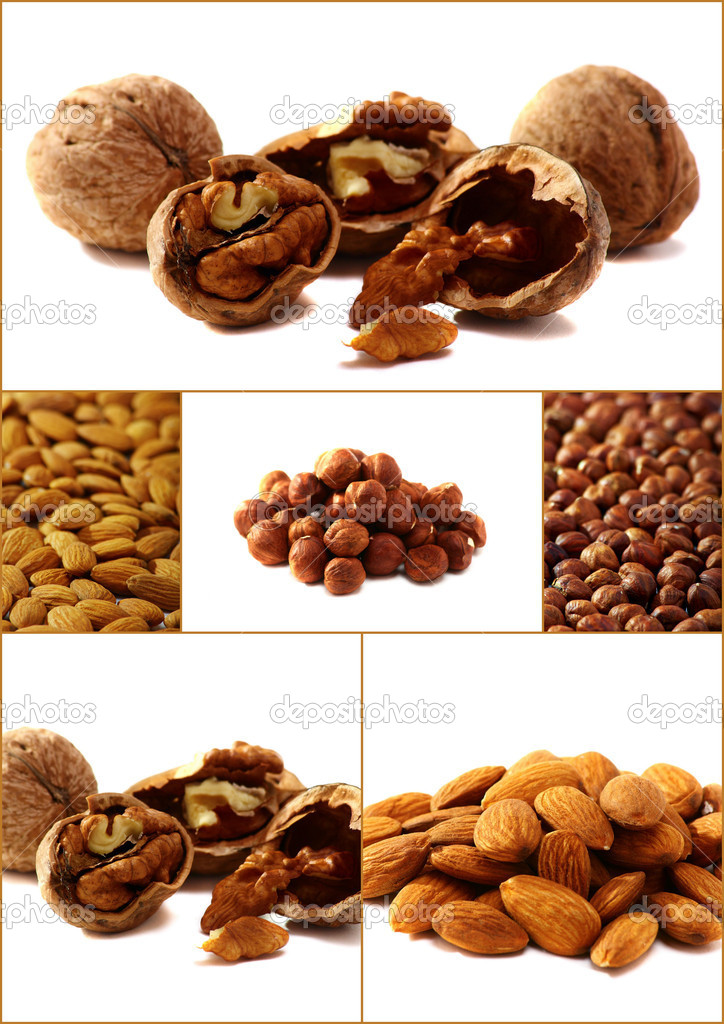 Collage of six images of almonds, hazelnuts and walnuts. — Stock Photo #5371775