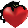 Black cat and heart — Stock Vector