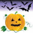 Halloween pumpkin and night bats. — Stock Vector #4545567