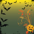 Grunge Halloween frame with bat, pumpkins. — Stock Vector