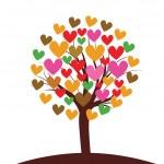 Valentines tree background, vector illustration — Stock Vector