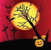 Marco de halloween dos grunge con el bate, calabazas. — Vector de stock
