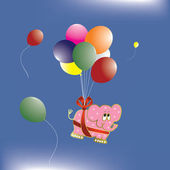 Elephant with balloons — Stock Vector