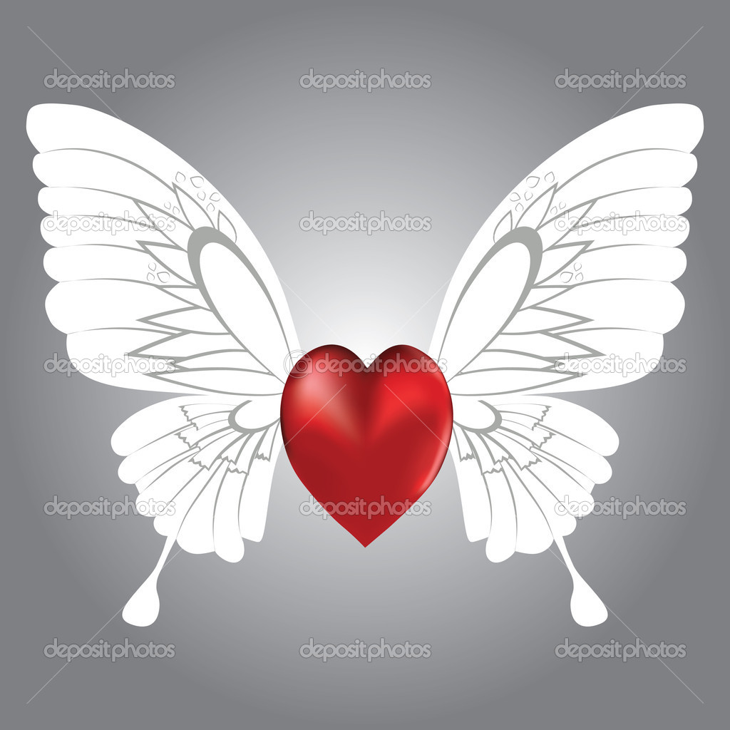 Valentine background of winged heart, vector illustration. — Imagen vectorial #4545513