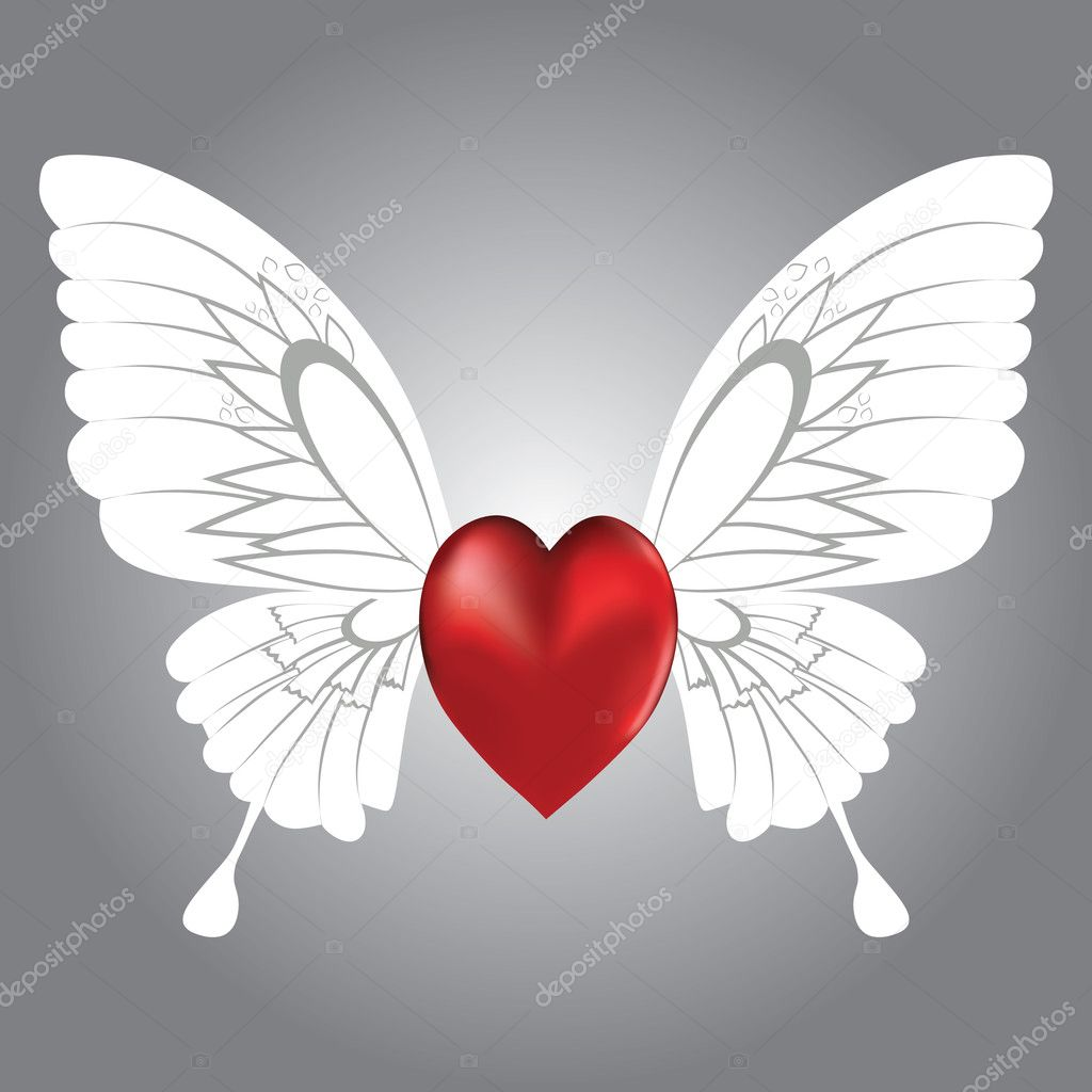 Valentine background of winged heart, vector illustration. — Imagens vectoriais em stock #4545513