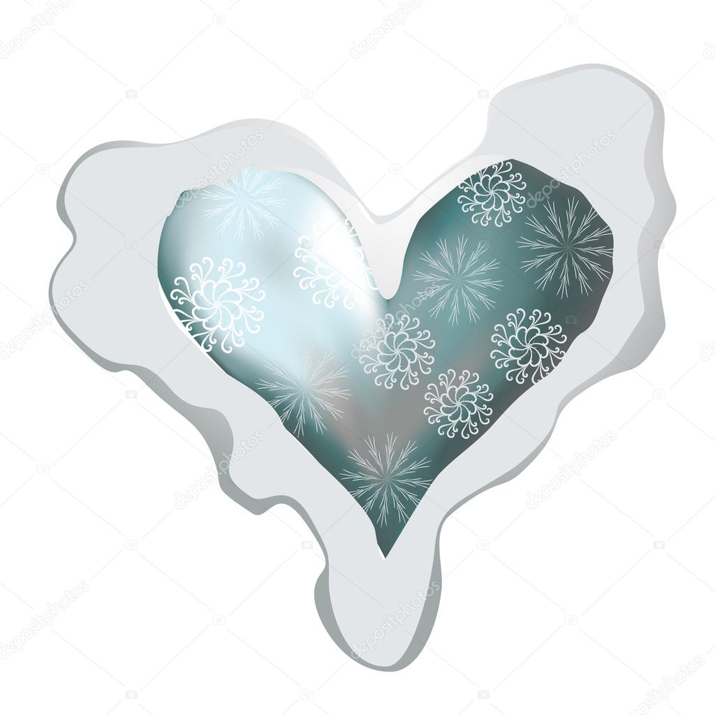 I like winter! Snowing heart shape for your design  — Stock Vector #4545519
