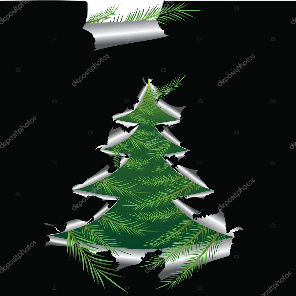 Paper with hole like Christmas tree, elements for design, vector illustration  — Stock Vector #4545522
