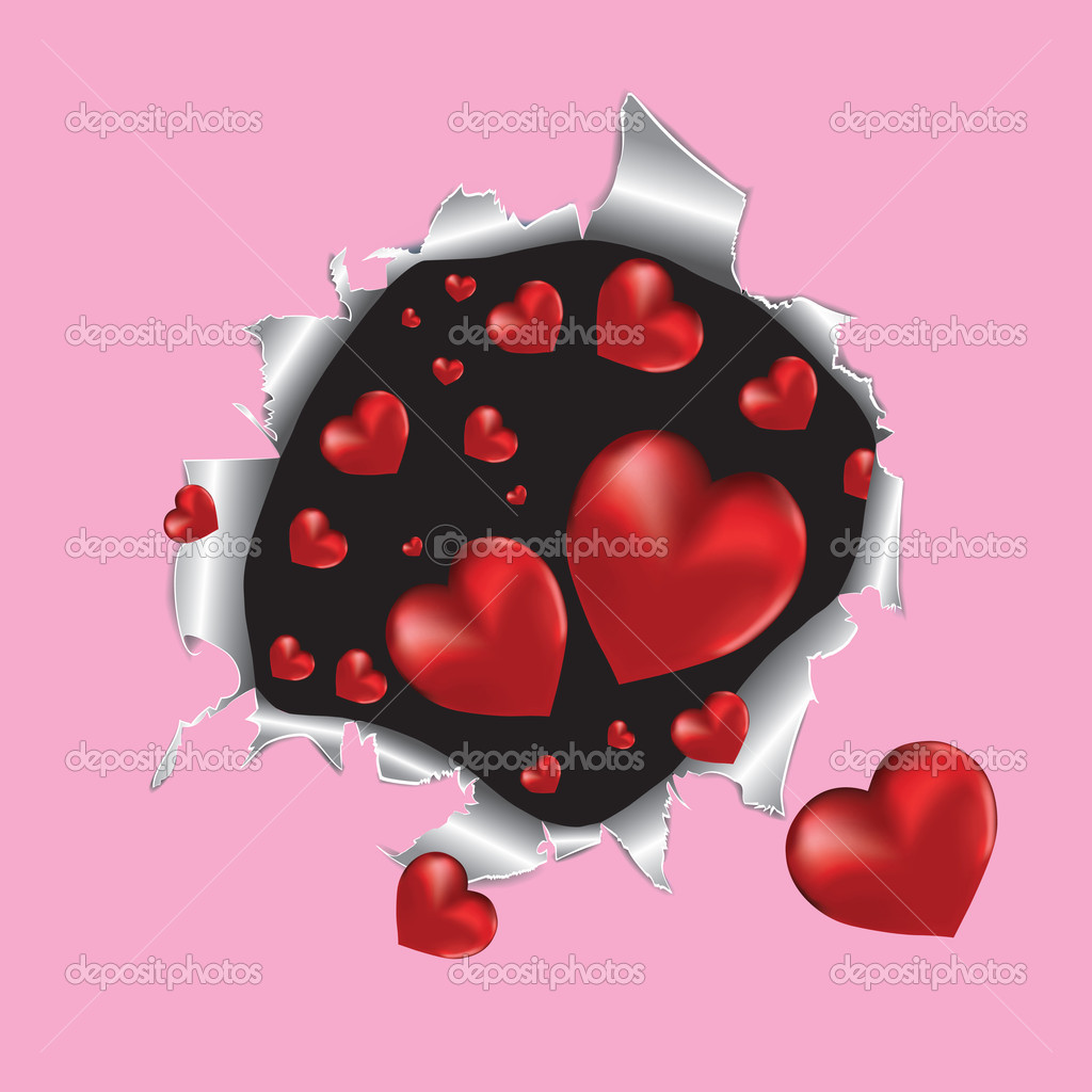 Tear paper with hearts. Vector illustration. — Stock Vector #4545523