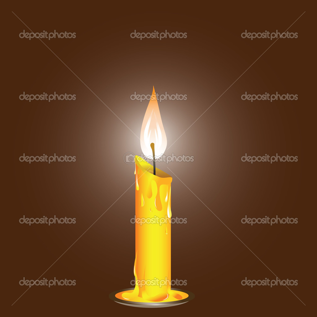 Vector illustration, realistic candle on the saucer .   Stok Vektr #4545573