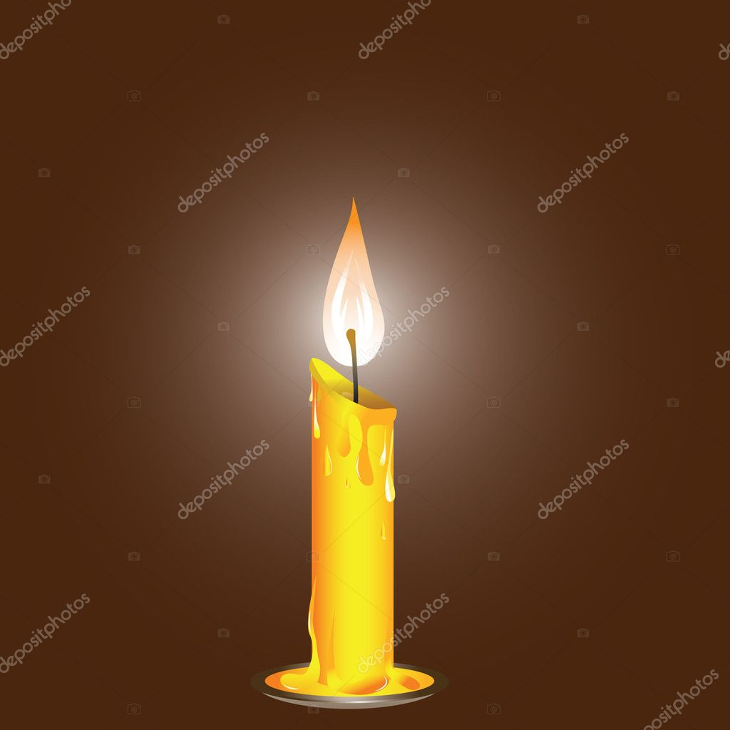 Vector illustration, realistic candle on the saucer .  — Vettoriali Stock  #4545573