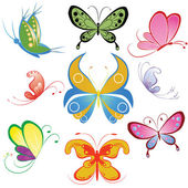Collection of different multicolored butterfly — Stock Vector