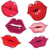 Jeu de lèvres brillants en tendre baiser. — Vecteur