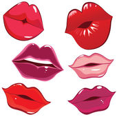 Set of glossy lips in tender kiss. — Vector de stock