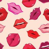 Seamless pattern, print of lips — Stock Vector