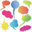 Colorful hand drawn speech and thought bubbles / Dialog clouds — Stock Vector
