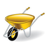 Yellow wheelbarrow — Stock Vector