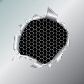 Hexagon metallic background under hole — Stock Vector