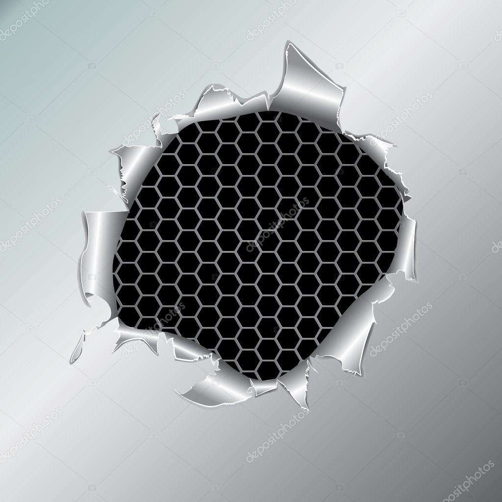 Hexagon metallic background, hole in the metal paper. Vector illustration — Stock Vector #4974686