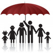 Silhouettes of family under umbrella cover — Stock Vector