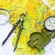 Compass on a map of Africa — Stockfoto