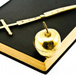 Royalty-Free Stock Photo: Golden Cross and Apple on Bible