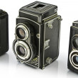 Three Vintage two lens photo cameras - Stock Photo