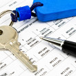 Stock Photo: Pen, House key and Interest rates on bank loans
