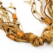 Necklace with leather strips amd spiral shell — Stock Photo #5227141