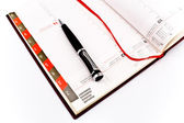 Pen on personal organizer — Stock Photo