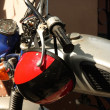 Stock Photo: Moto et casque