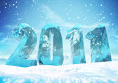 New Year 2011 Ice figures — Stock Photo