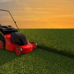 cortador de grama no campo verde — Foto Stock