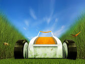 Moving lawn mower on grass track — Stock Photo