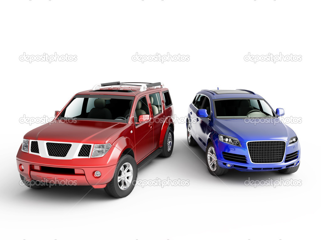 Two cars presentation. Isolated on white background.  Stock Photo #4603626
