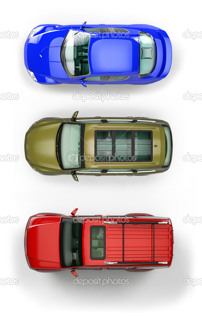 Three top view automobiles isolated on white background — Stock Photo #4603632